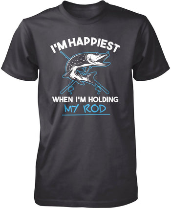 I'm Happiest When I'm Holding My Rod - Premium T-Shirt / Dark Heather / S