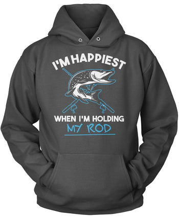 I'm Happiest When I'm Holding My Rod - Pullover Hoodie / Dark Heather / S