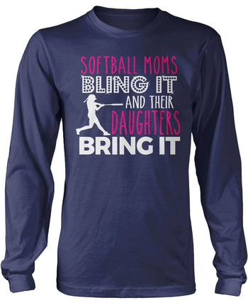 Softball Moms Bling it & Their Daughters Bring it - Long Sleeve T-Shirt / Navy / S