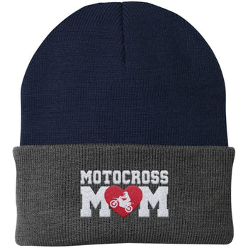 Motocross Mom - Embroidered Beanie - Fold Beanie / Navy / Gray