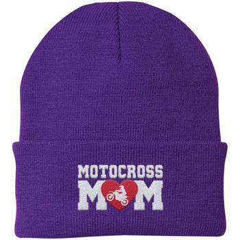 Motocross Mom - Embroidered Beanie - Fold Beanie / Purple