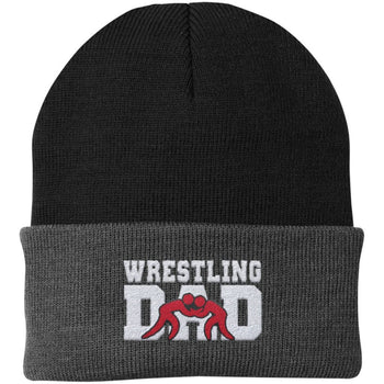 Wrestling Dad - Embroidered Beanie - Fold Beanie / Black / Gray