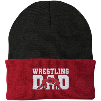 Wrestling Dad - Embroidered Beanie - Fold Beanie / Black / Red