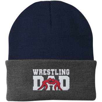 Wrestling Dad - Embroidered Beanie - Fold Beanie / Navy / Gray