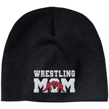 Wrestling Mom - Embroidered Beanie - Regular Beanie / Black