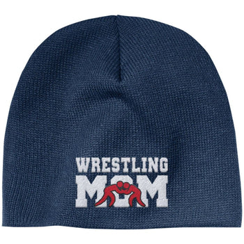 Wrestling Mom - Embroidered Beanie - Regular Beanie / Navy