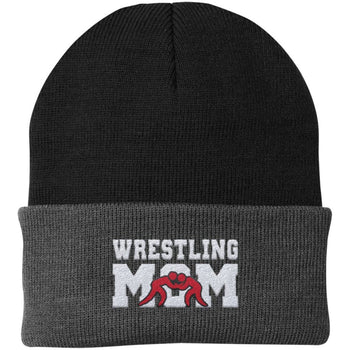 Wrestling Mom - Embroidered Beanie - Fold Beanie / Black / Gray