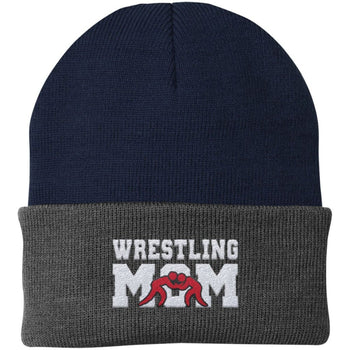Wrestling Mom - Embroidered Beanie - Fold Beanie / Navy / Gray