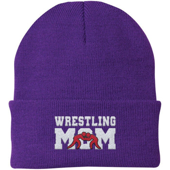 Wrestling Mom - Embroidered Beanie - Fold Beanie / Purple