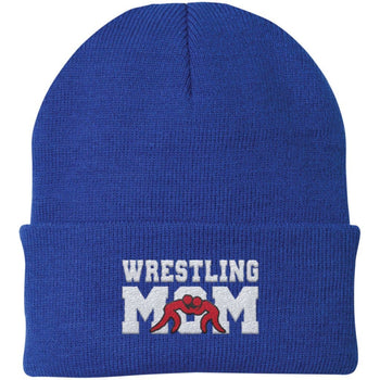 Wrestling Mom - Embroidered Beanie - Fold Beanie / Royal