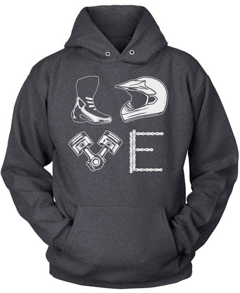 Love Motocross - Pullover Hoodie / Dark Heather / S