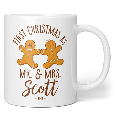 Our First Christmas - Gingerbread Man - Personalized Mug / Tea Cup