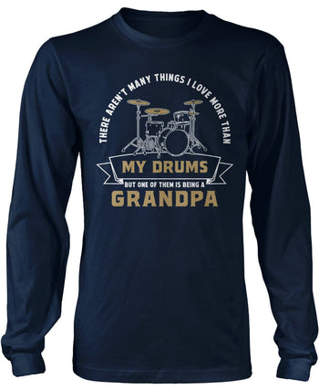This (Nickname) Loves Drums - Personalized T-Shirt - Long Sleeve T-Shirt / Navy / S