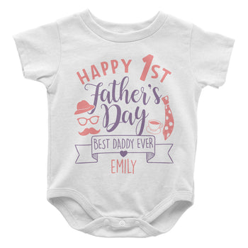 Happy 1st Fathers Day - Personalized Baby Bodysuit