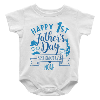 Happy 1st Fathers Day - Personalized Baby Bodysuit - Baby Apparel