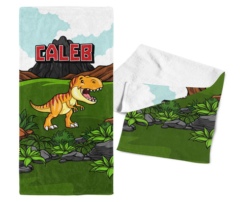 Happy Dinosaur - Personalized Kids Name Towel