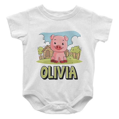 Happy Pig - Personalized Baby Bodysuit
