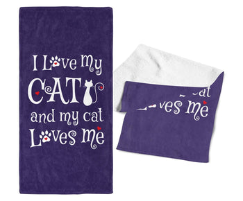 I Love My Cat & My Cat Loves Me - Gym / Kitchen Towel - Towels