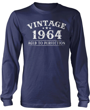 Vintage (Your Birth Year) - Personalized T-Shirt - Long Sleeve T-Shirt / Navy / S
