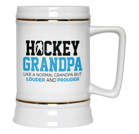 Loud and Proud Hockey (Nickname) - Blue - Personalized Beer Stein