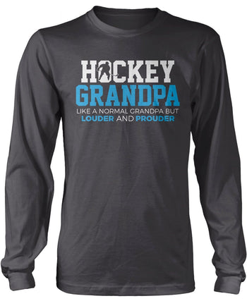 Loud and Proud Hockey (Nickname) - Blue - T-Shirt - Long Sleeve T-Shirt / Dark Heather / S