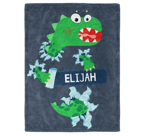 Jurassic Dinosaur - Personalized Name Blanket - Micro Fleece