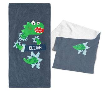 Jurassic Dinosaur - Personalized Kids Name Towel