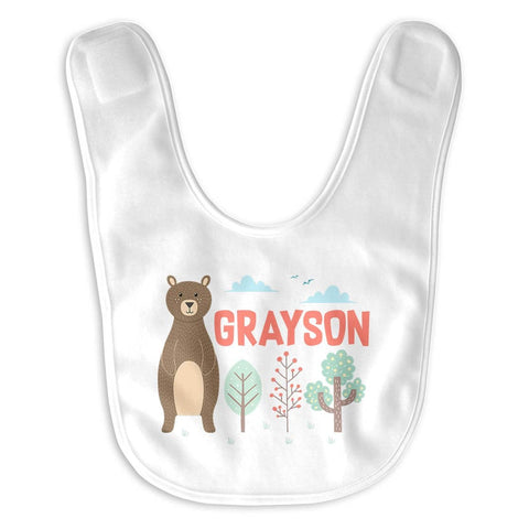 Woodland Bear - Personalized Baby Bib
