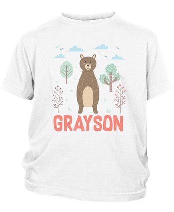 Woodland Bear - Personalized Children's T-Shirt - Toddler T-Shirt / White / 2T