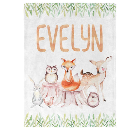 Woodland Friends - Personalized Blanket
