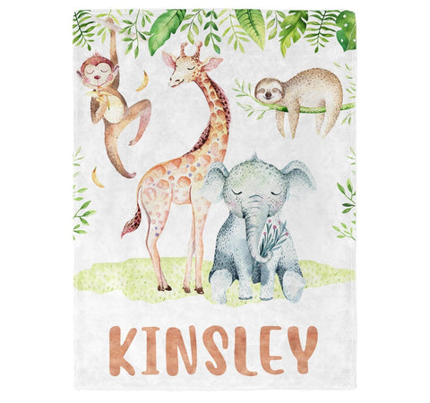Safari Friends - Personalized Name Blanket - Micro Fleece