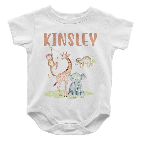 Safari Friends - Personalized Baby Bodysuit