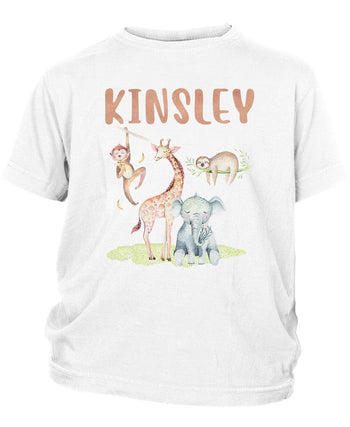 Safari Friends - Personalized Children's T-Shirt - Toddler T-Shirt / White / 2T