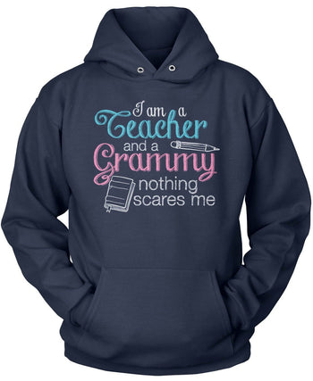 Teacher Grammy Nothing Scares Me - Pullover Hoodie / Navy / S