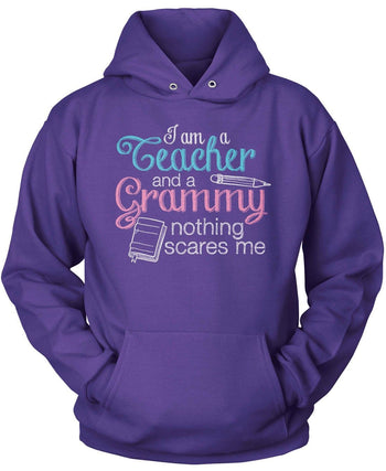 Teacher Grammy Nothing Scares Me - Pullover Hoodie / Purple / S