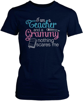 Teacher Grammy Nothing Scares Me - Women's Fit T-Shirt / Navy / S
