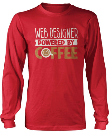 Web Designer Powered By Coffee - Long Sleeve T-Shirt / Red / S
