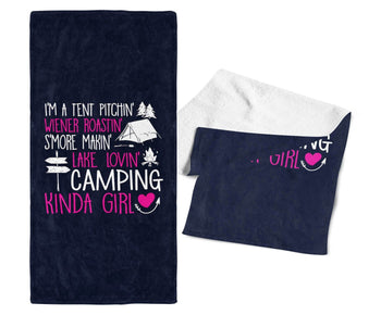 I'm a Camping Kinda Girl - Gym / Camping Towel - Navy