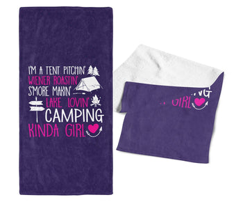 I'm a Camping Kinda Girl - Gym / Camping Towel - Purple