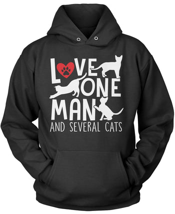 Love One Man and Several Cats Pullover Hoodie Sweatshirt