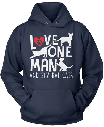 Love One Man and Several Cats - Pullover Hoodie / Navy / S