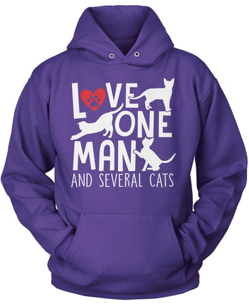 Love One Man and Several Cats - Pullover Hoodie / Purple / S