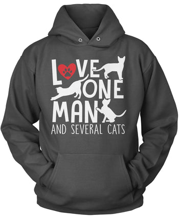 Love One Man and Several Cats - Pullover Hoodie / Dark Heather / S