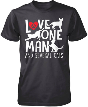 Love One Man and Several Cats - Premium T-Shirt / Dark Heather / S
