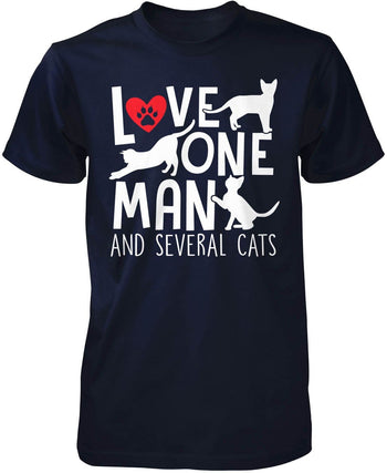 Love One Man and Several Cats - Premium T-Shirt / Navy / S