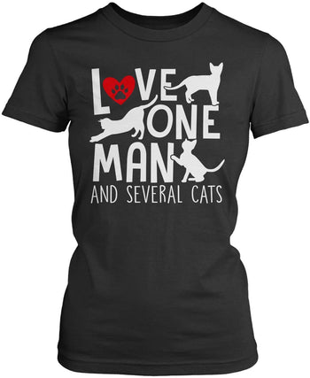 Love One Man and Several Cats - Women's Fit T-Shirt / Dark Heather / S