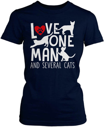 Love One Man and Several Cats - Women's Fit T-Shirt / Navy / S