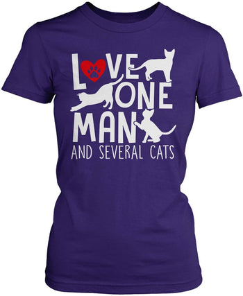 Love One Man and Several Cats - Women's Fit T-Shirt / Purple / S