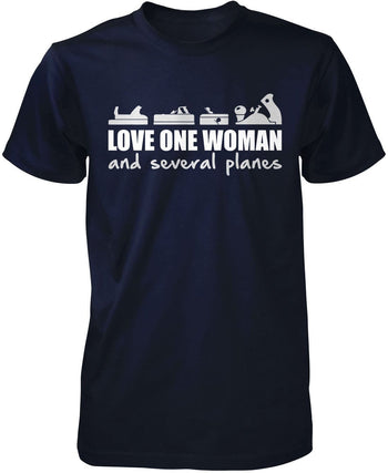 Love One Woman and Several Planes - Premium T-Shirt / Navy / S