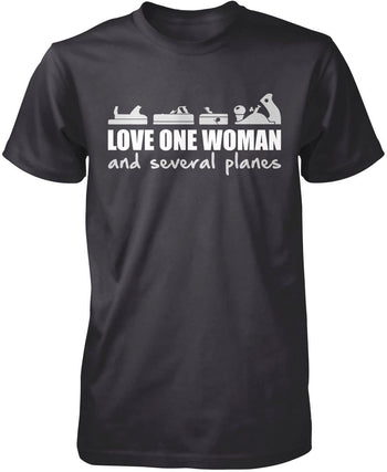 Love One Woman and Several Planes - Premium T-Shirt / Dark Heather / S